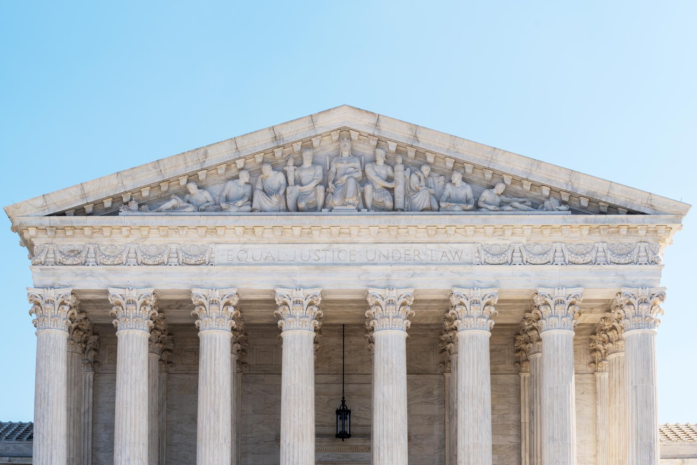 Exterior of Supreme Court of the United States on First Street in Washington DC, USA