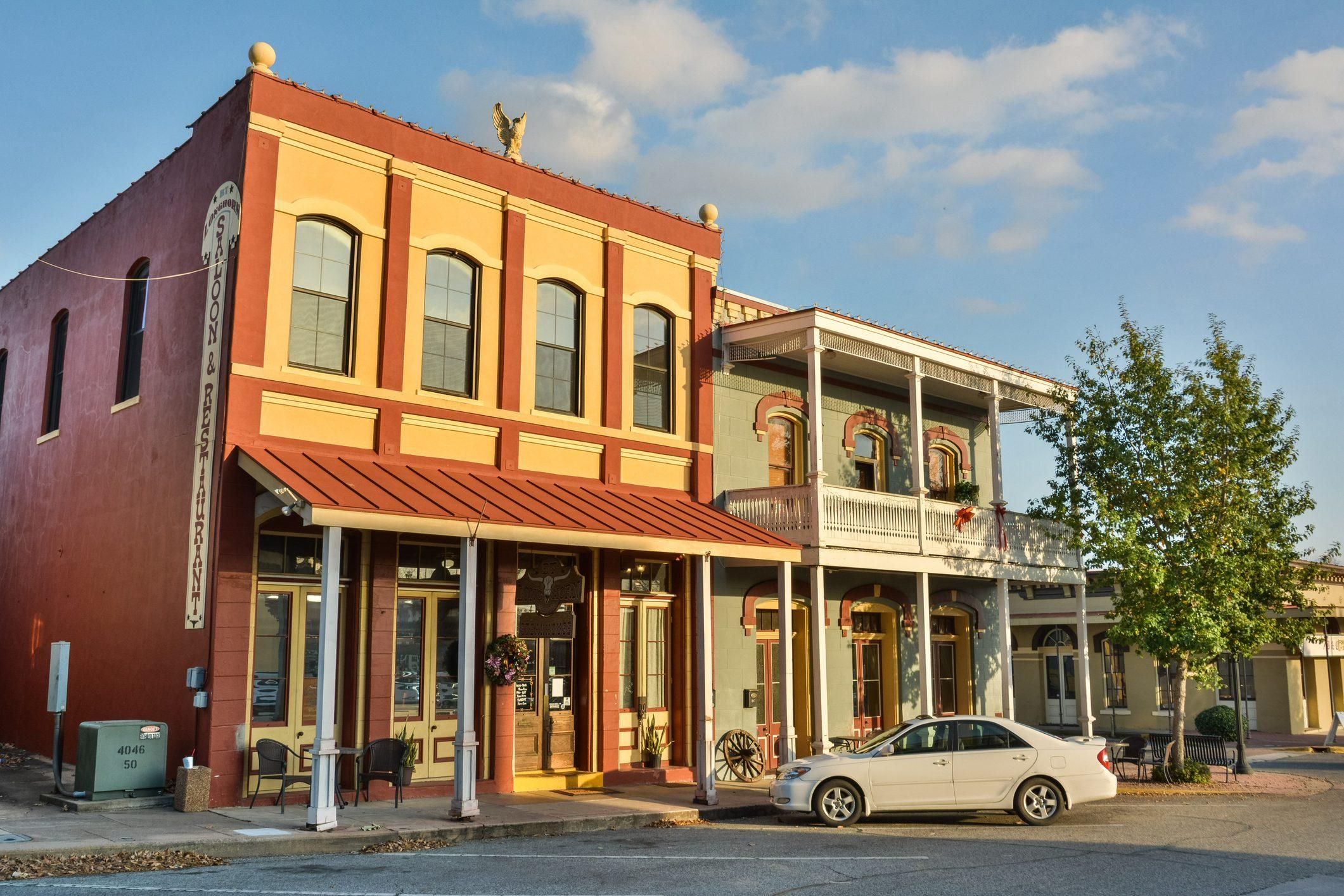 Dunlap Buildings, dating from 1870, in Brenham, TX