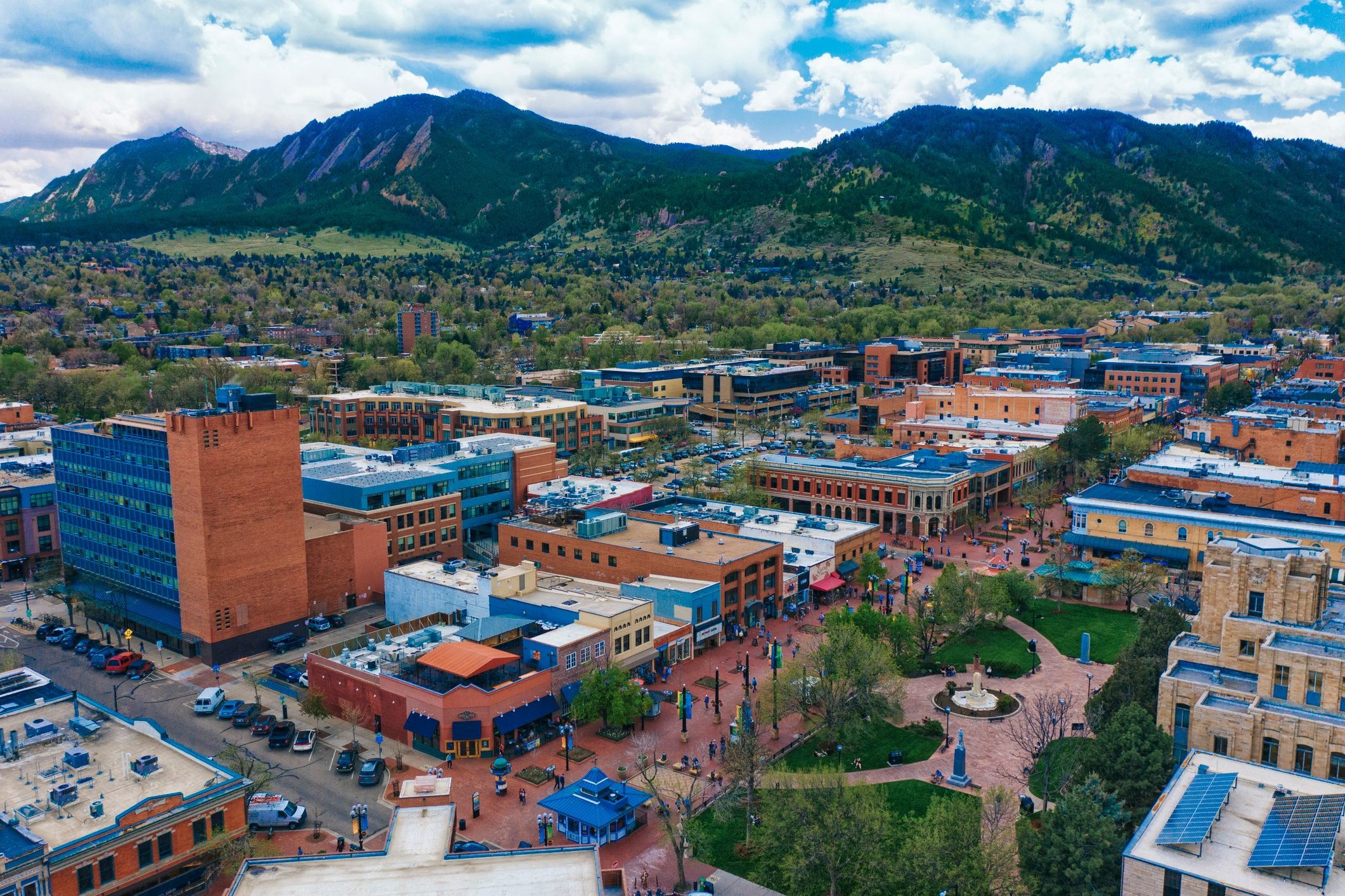 Aerial view of Pearl Street Mall in Boulder Colorado