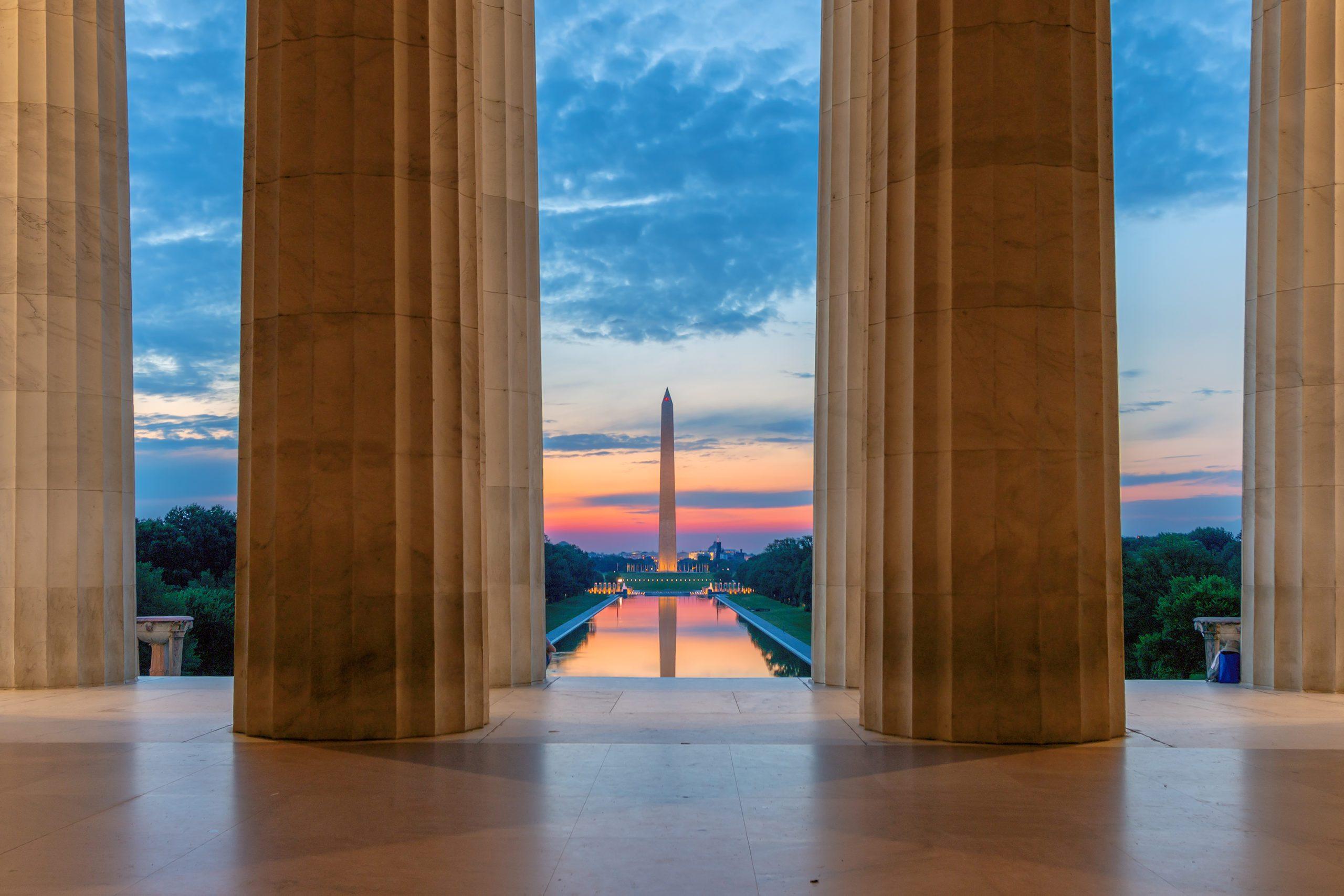 Lincoln Memorial at sunrise in Washington, D.C.