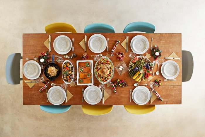 Directly above shot of mainly vegan meal served on table