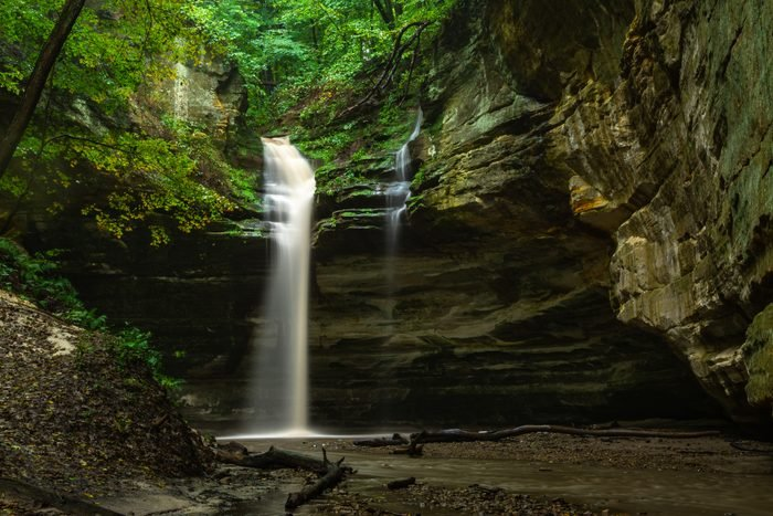 Water in full flow after heavy fall rain. Ottawa canyon, starved rock state park, Illinois.