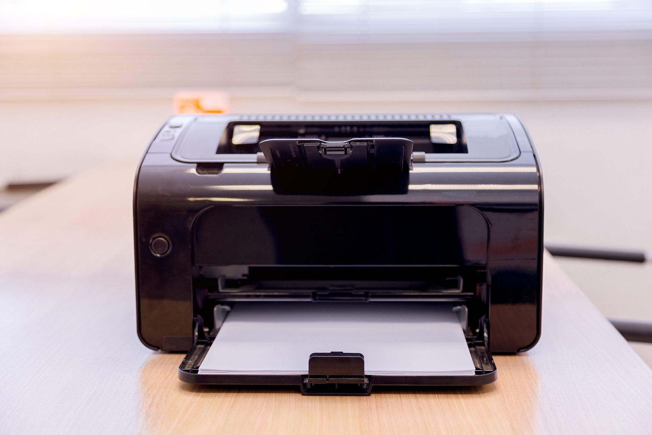 Close-Up Of Computer Printer On Table