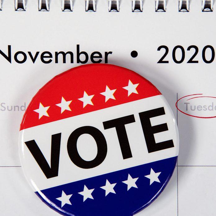 political campaign button on November 2020 calendar