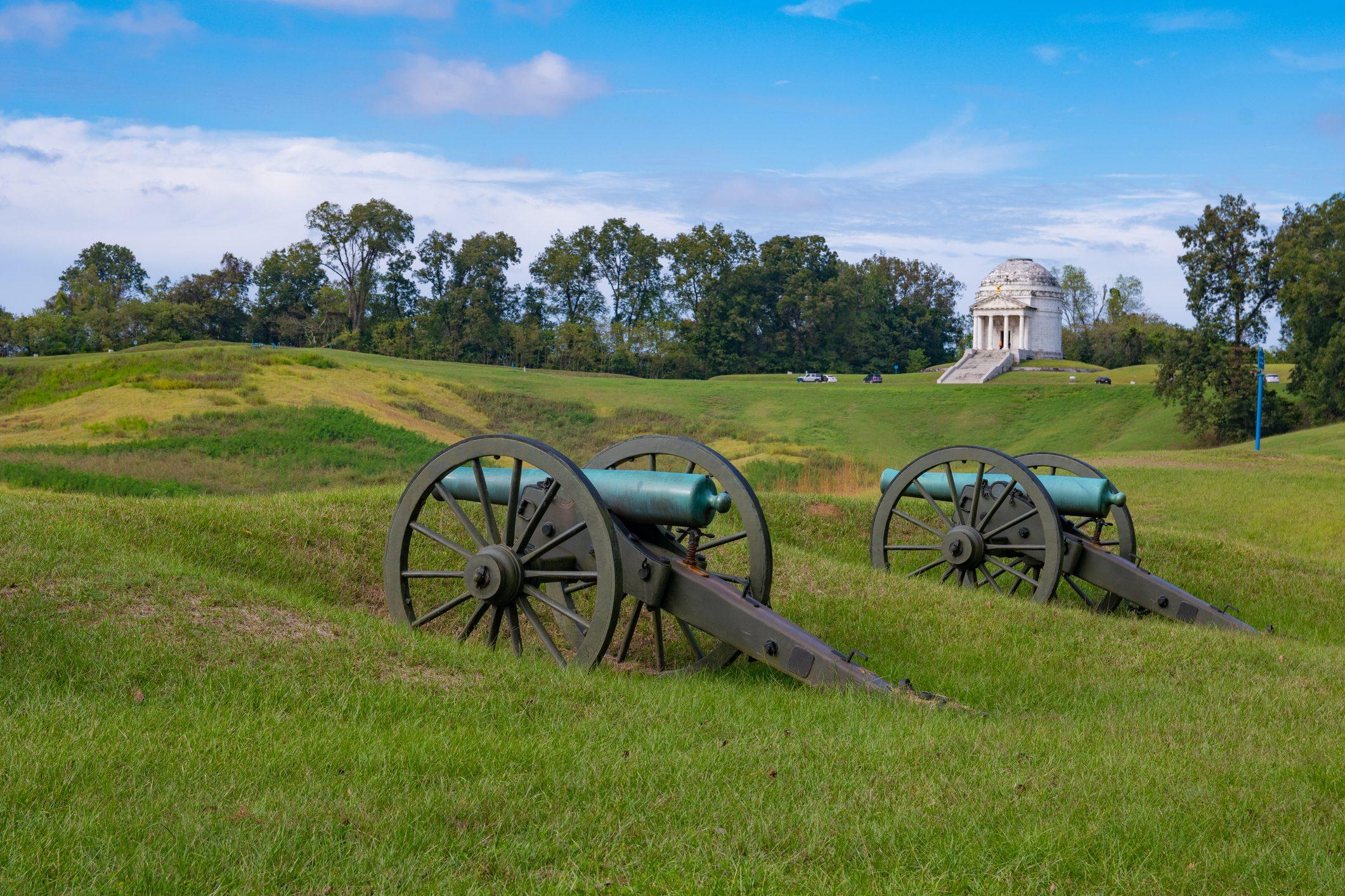 Civil War Cannons at Vicksburg National Military Park in Vicksburg, Mississippi.