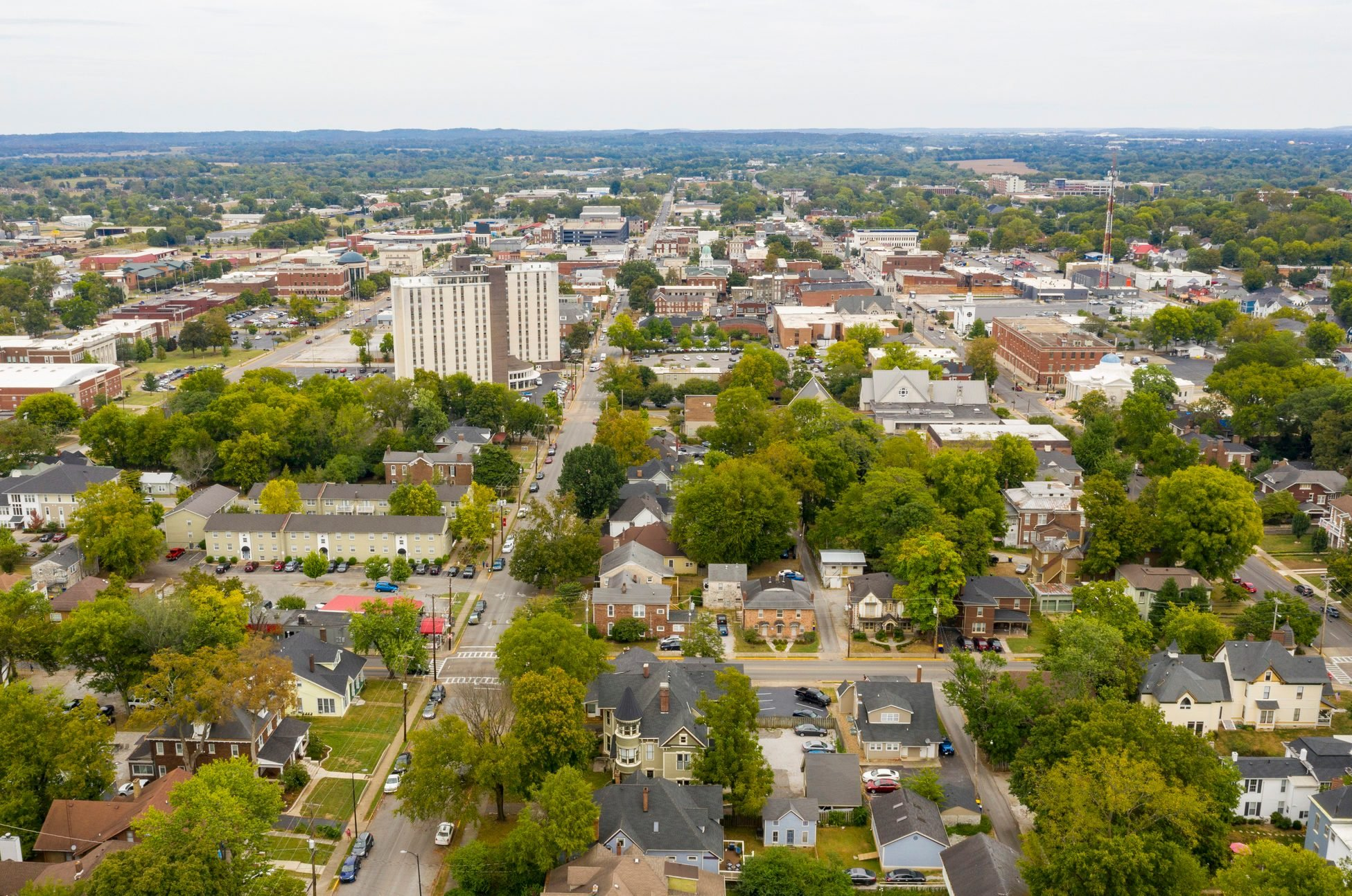Overcast Day Aerial View over the Urban Downtown Area of Bowling Green Kentucky