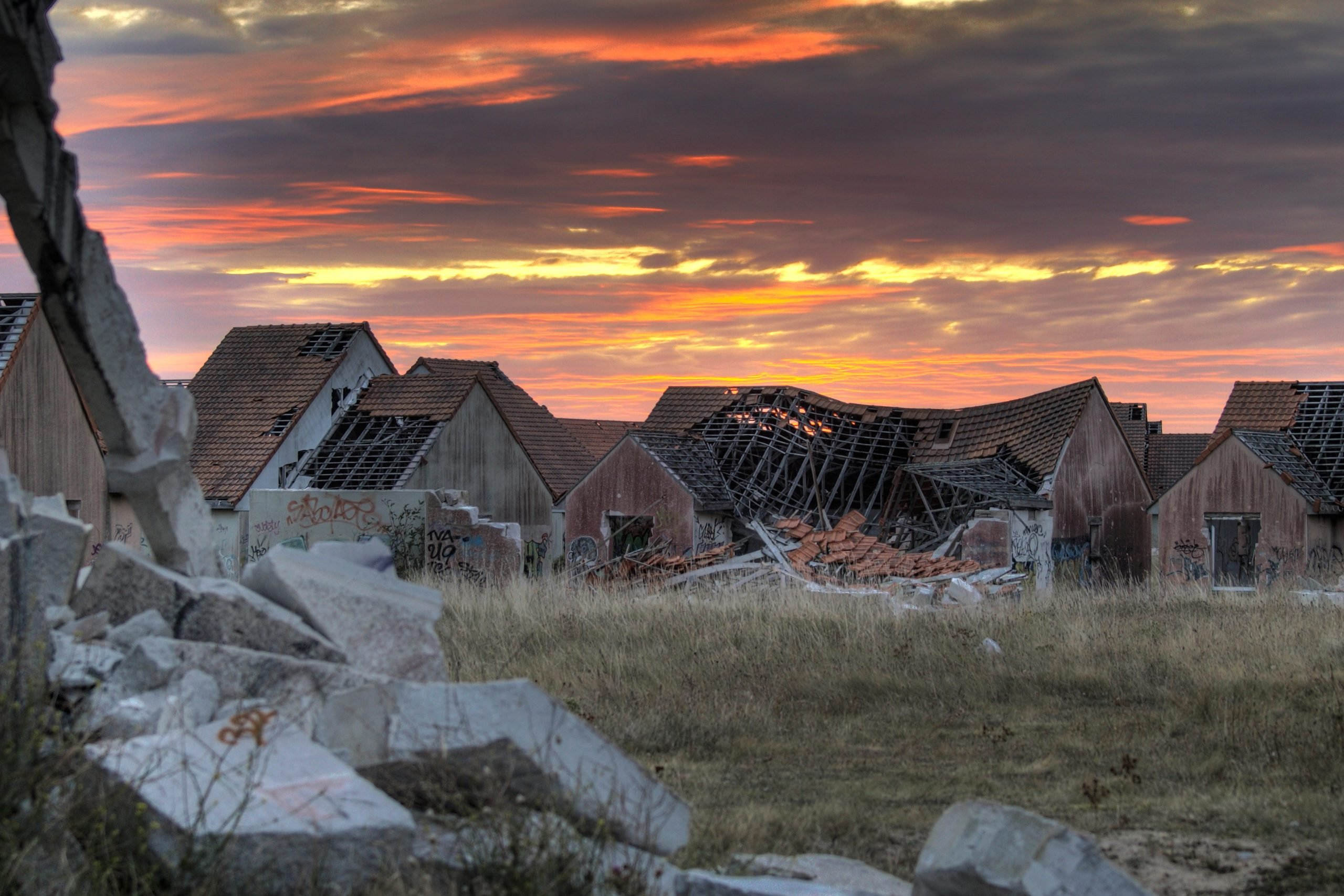 Abandoned houses at sunset