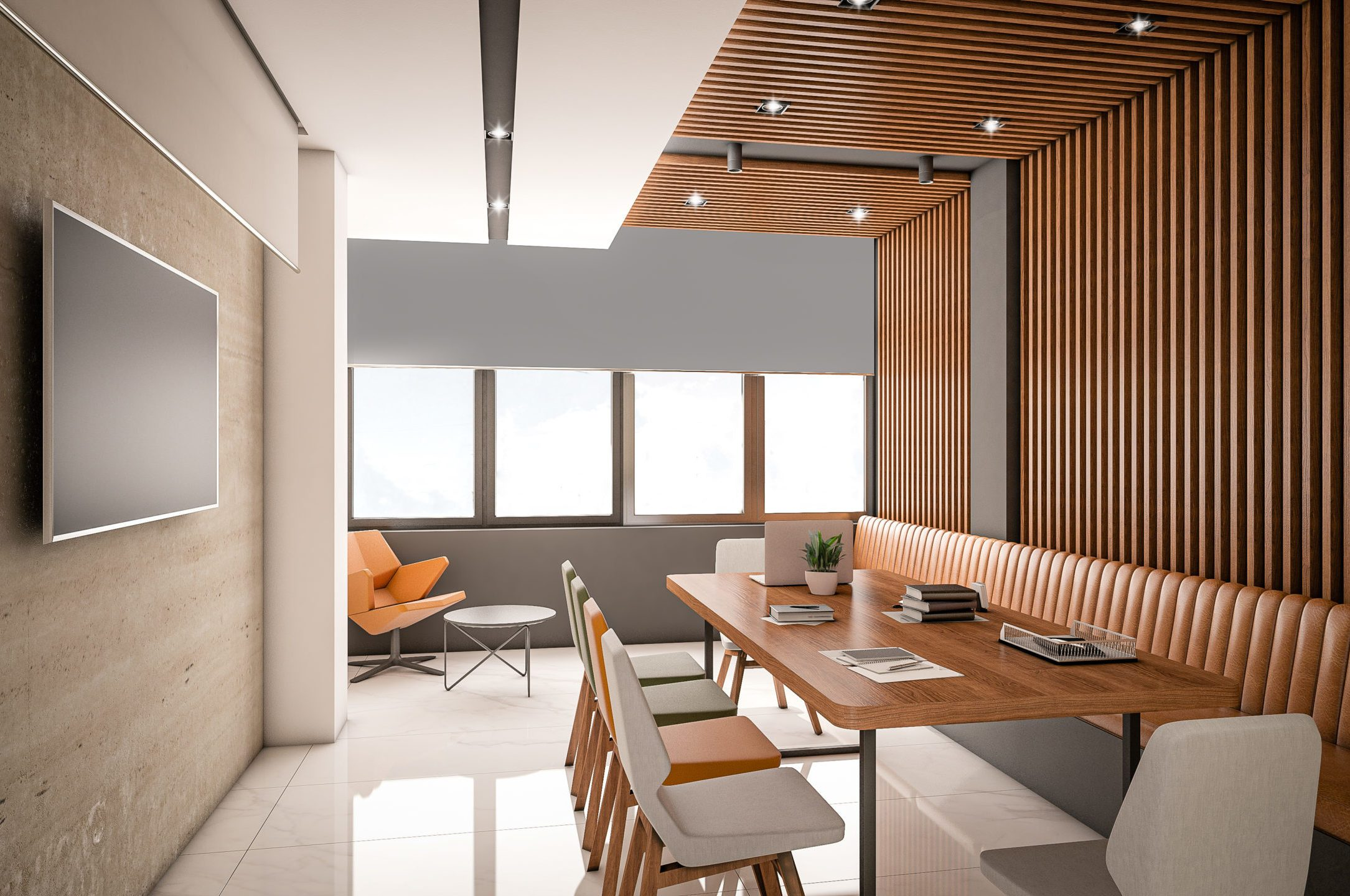 Computer generated image of Hotel Meeting and Conference Room. Architectural Visualization. 3D rendering. View 01