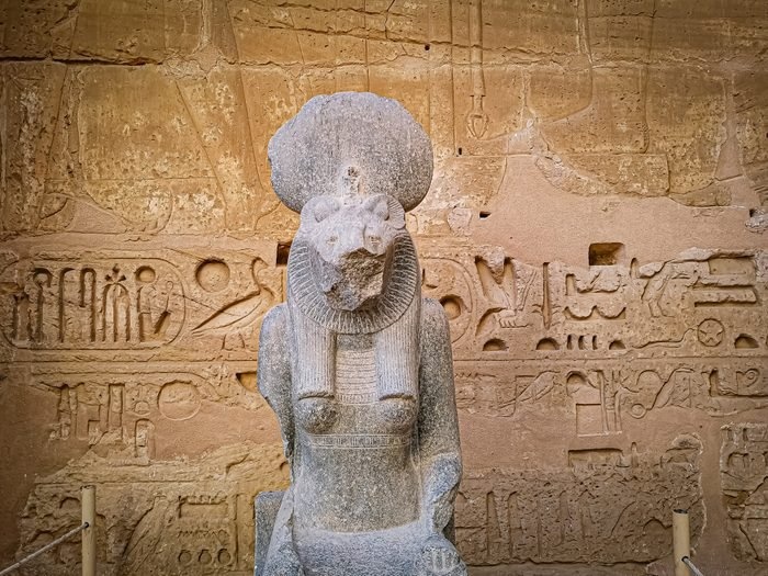 Statue of Sekhmet, Egyptian goddess with a lioness head.