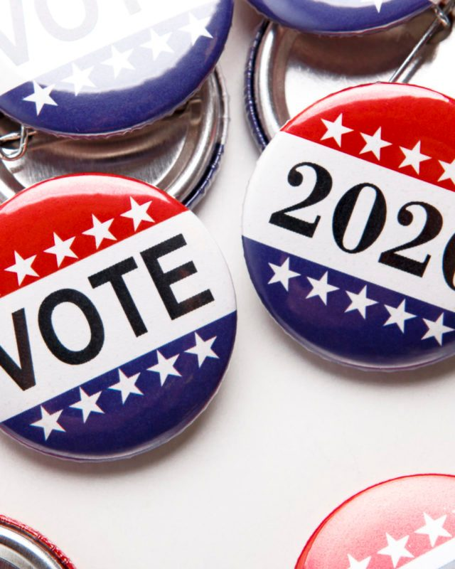 America Vote election badge buttons on white background