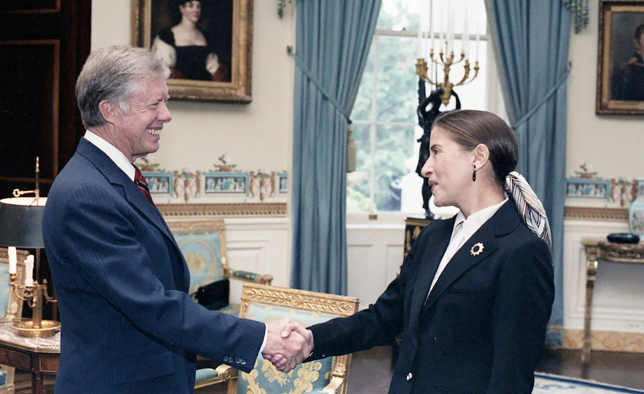 U.S. President Jimmy Carter with Ruth Bader Ginsburg at White House Reception for Women Federal Judges, Washington, D.C., USA, Jimmy Carter's Presidential Photographs, White House Staff Photographers Collection, October 3, 1980
