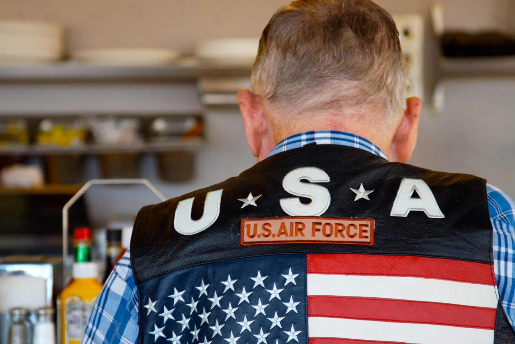 Man Wearing Air Force Vest