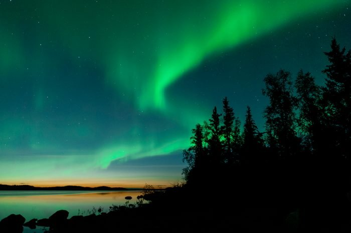 Summer aurora on lake