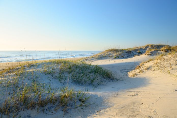 Warm light of sunrise along beach and sand dunes at Cape Hatteras in the Outer Banks of North Carolina.