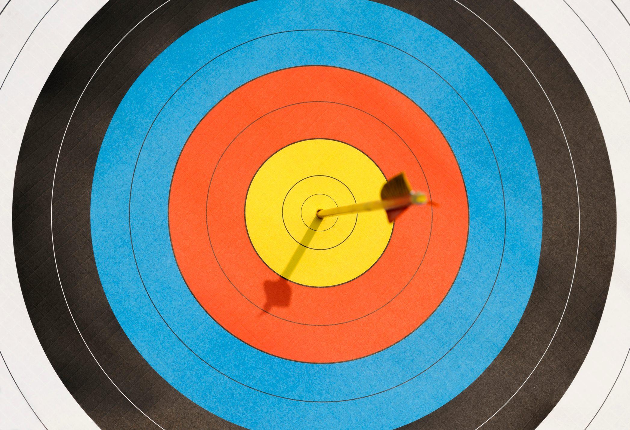 Arrow lodged in bull's-eye