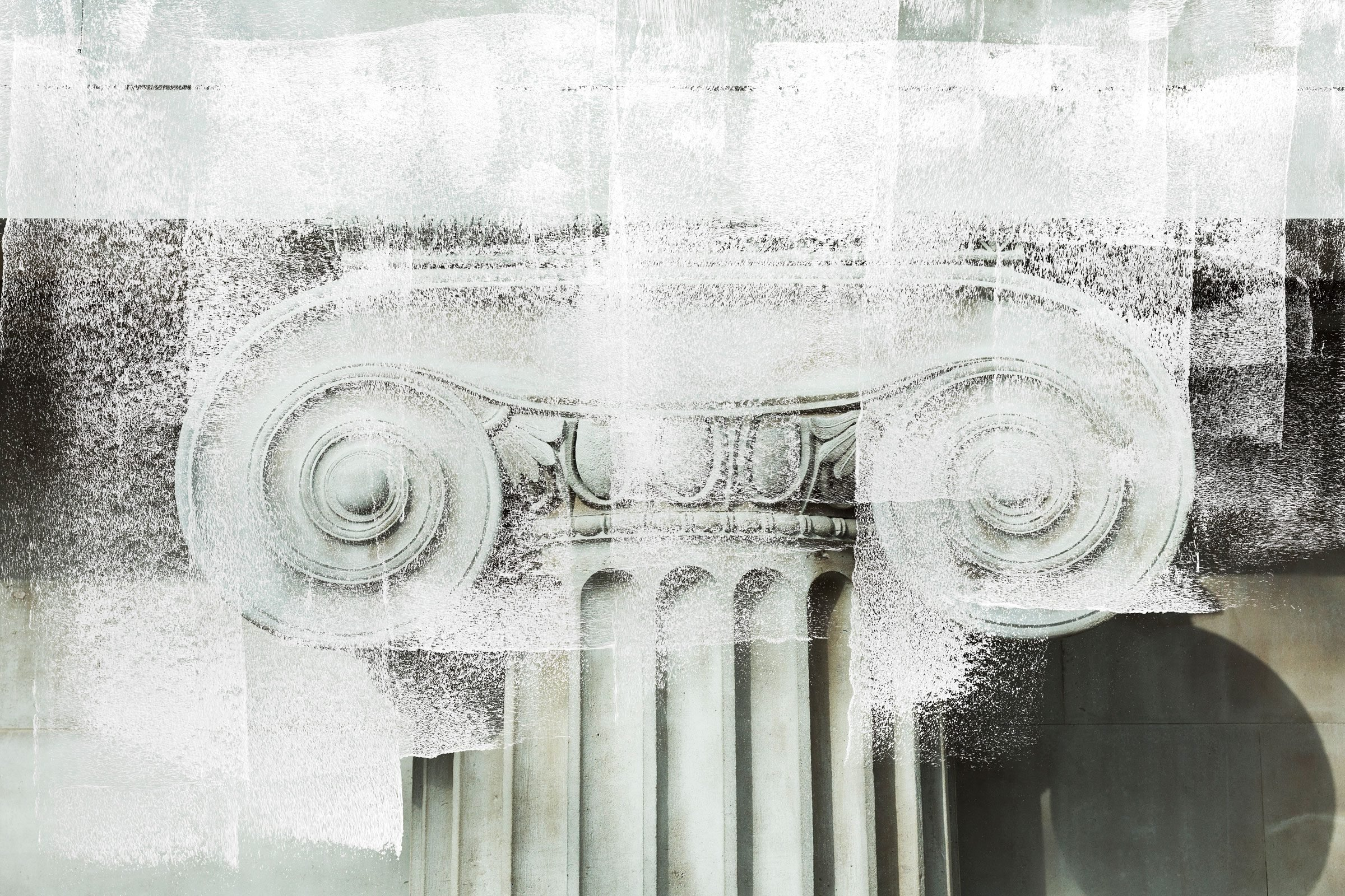white paint overlay over a close up of details of a marble column