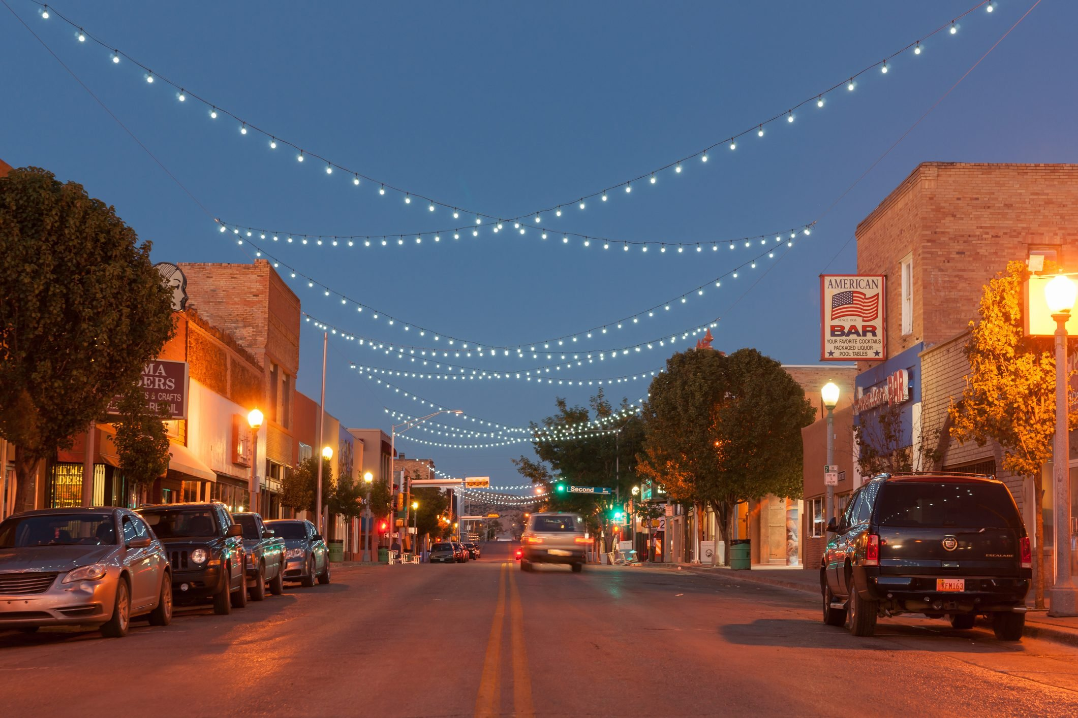 Street scne with decorative lighing Gallup New Mexico Route 66.