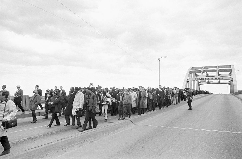 Civil Rights Demonstrators on Bridge