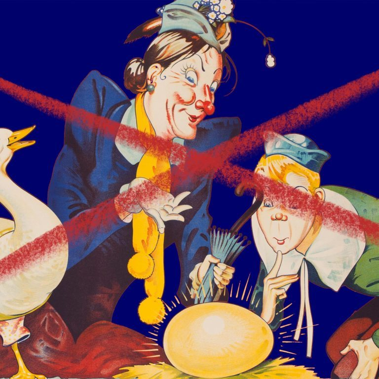 mother goose illustration with an X drawn over it