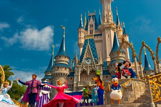 Disney characters perform in front of the Cinderella Castle