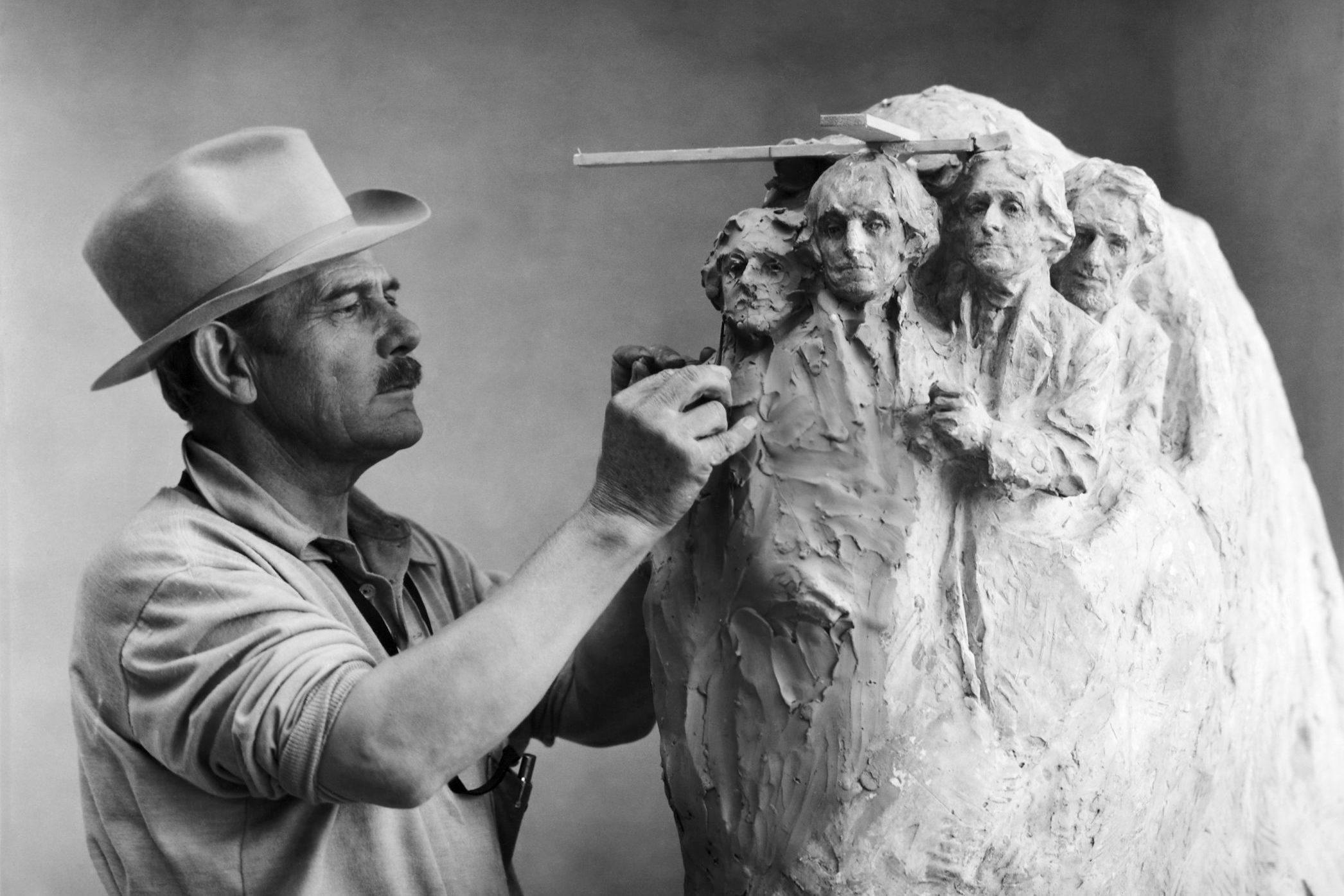 Gutzon Borglum Working on Model
