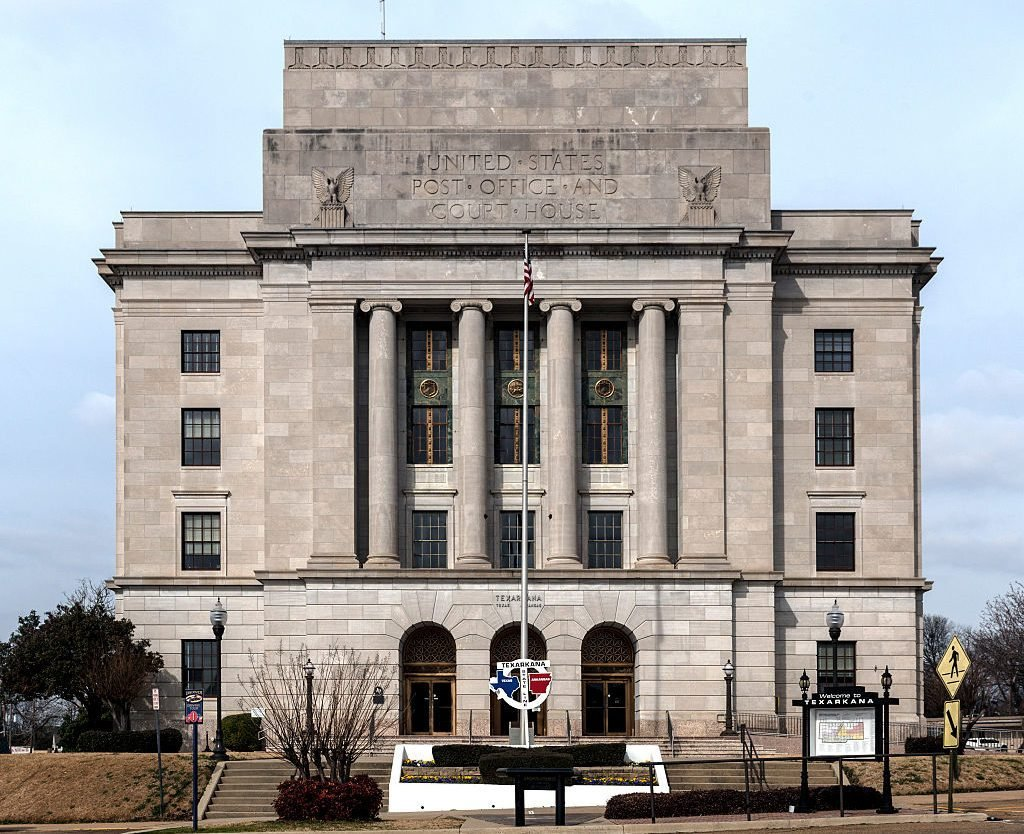 The federal courthouse and post office in Texarkana. Like the city, this building is half in Texas (