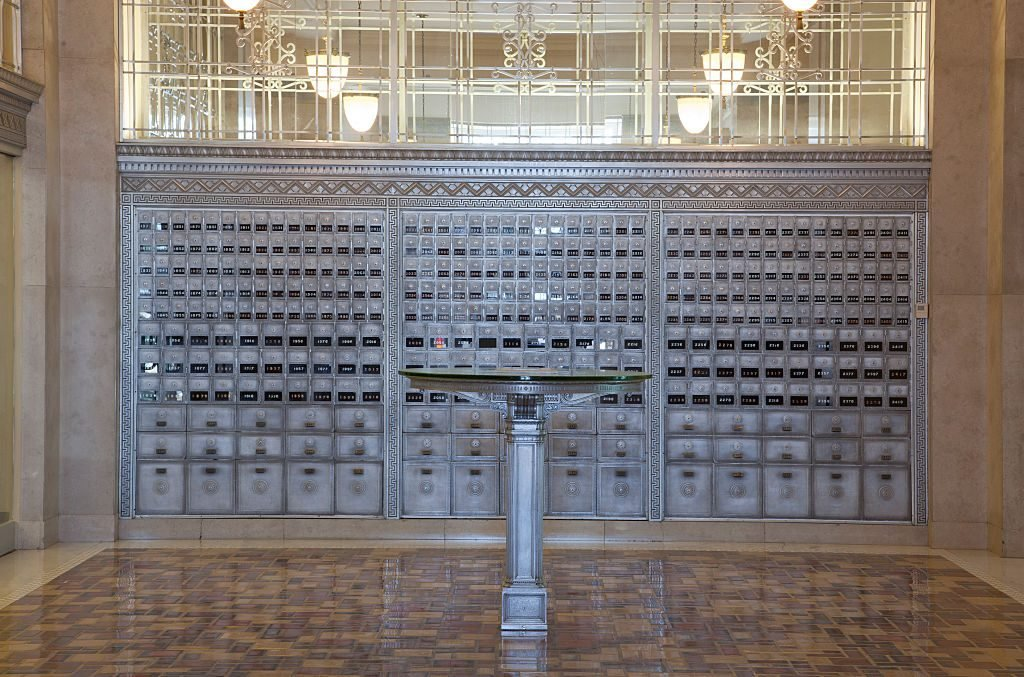 Lobby architectural details, Richard Sheppard Arnold U.S. Post Office and Courthouse is a monument f
