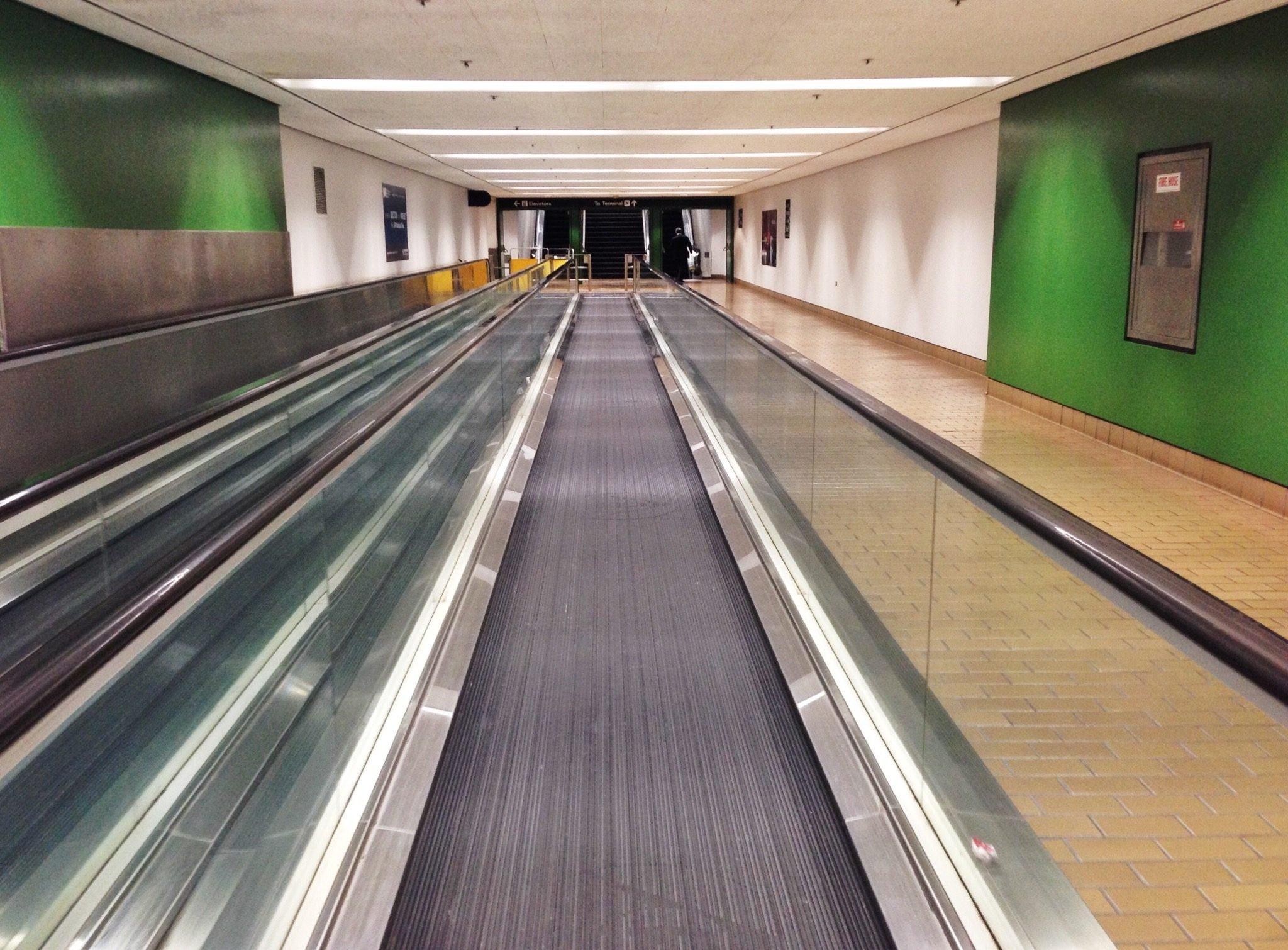 Moving Walkway In Modern Airport