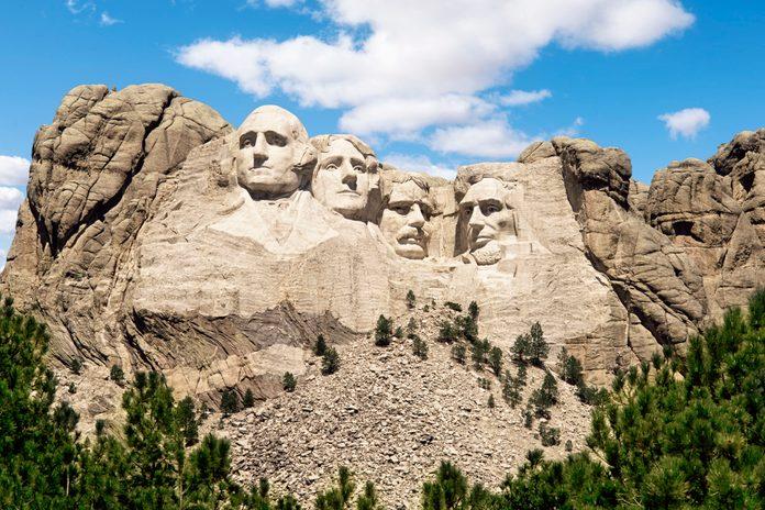 Mount Rushmore monument under blue sky, South Dakota, United States
