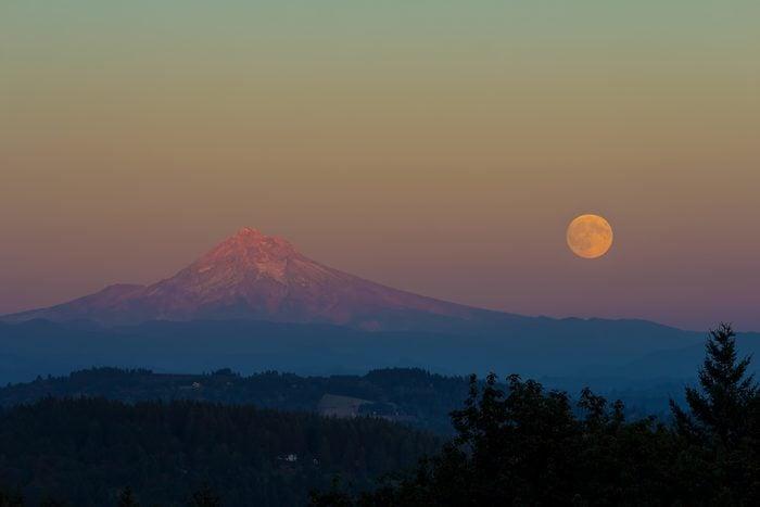 Full Moonrise over Mount Hood Oregon