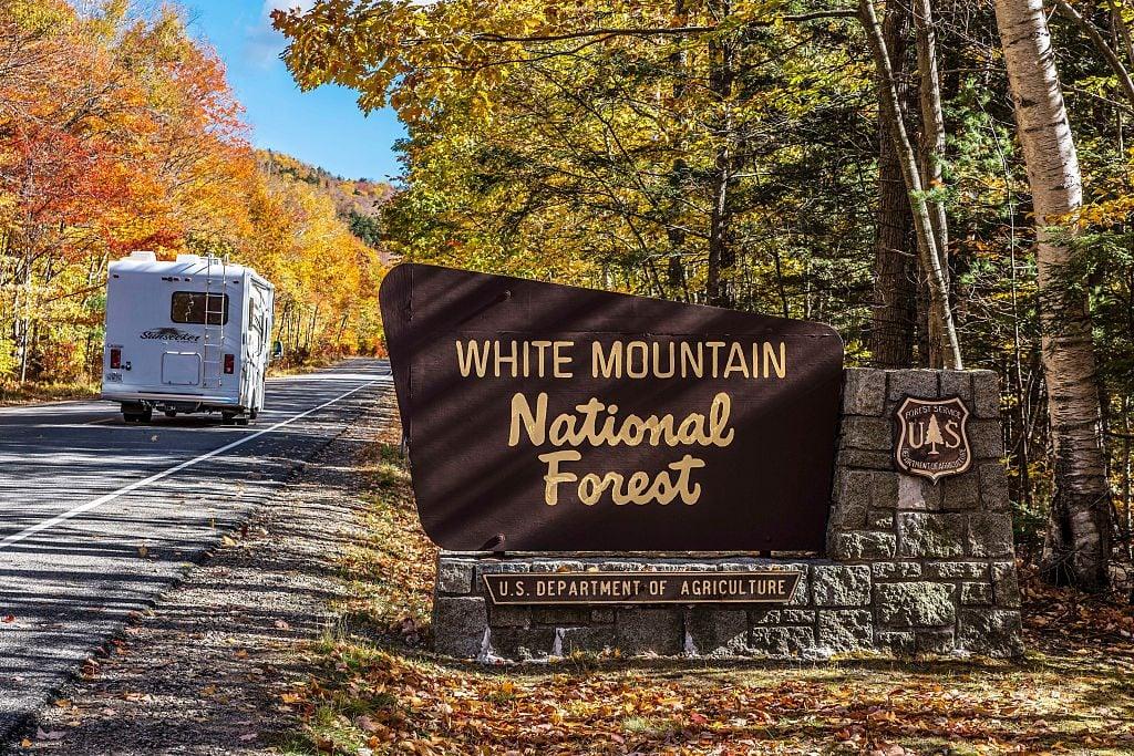 Autumn tourism in White Mountain National Forest...