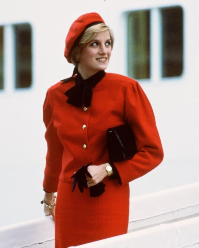 Diana, Princess of Wales wears a charm bracelet aboard the n