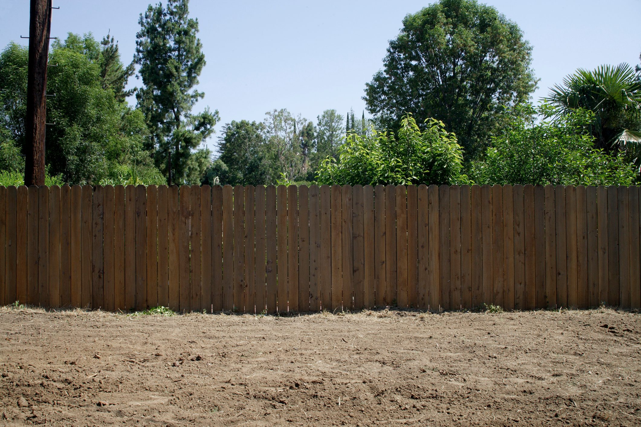 Dirt yard and wood fence on sunny day