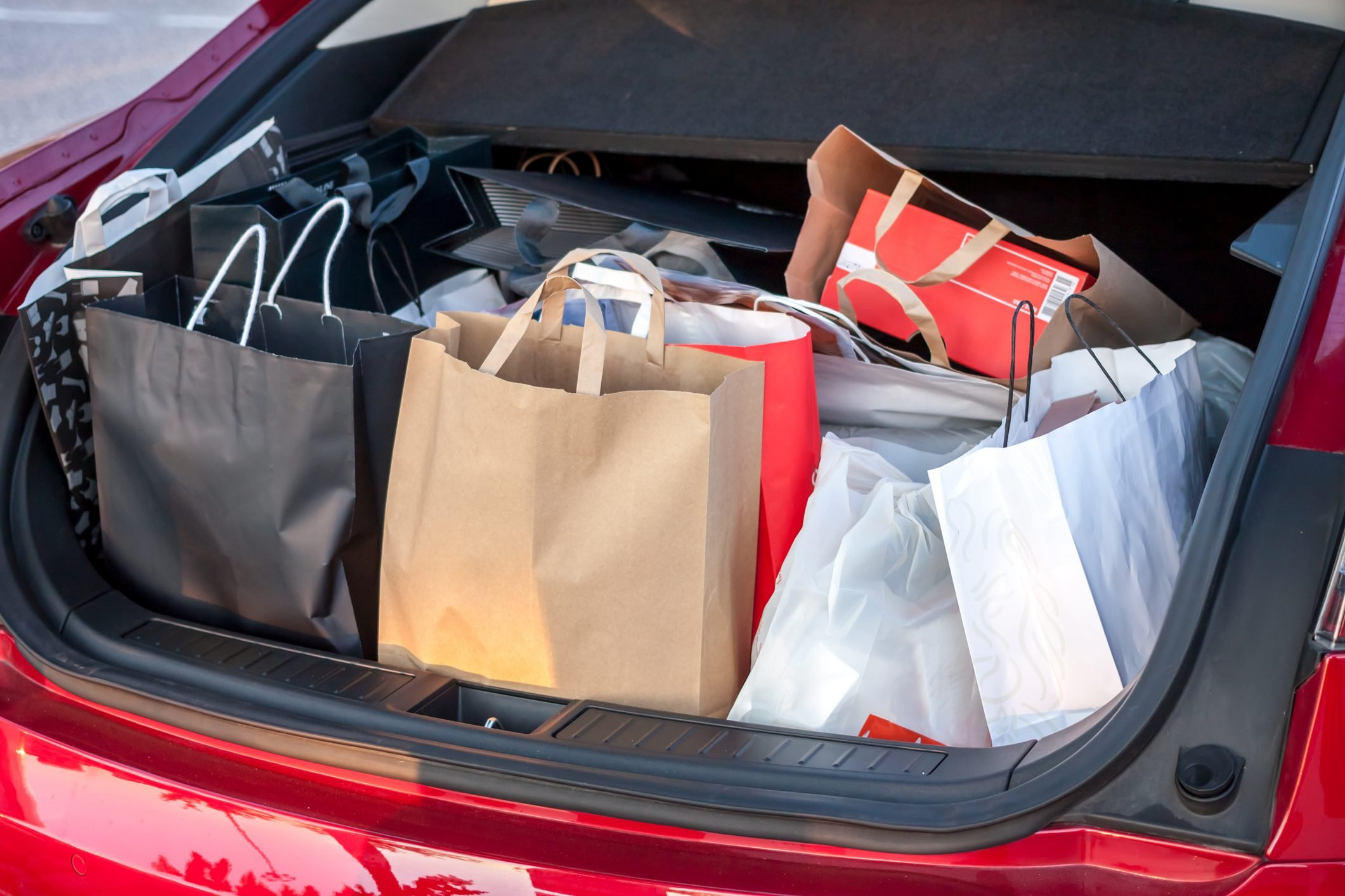 shopping bags in car