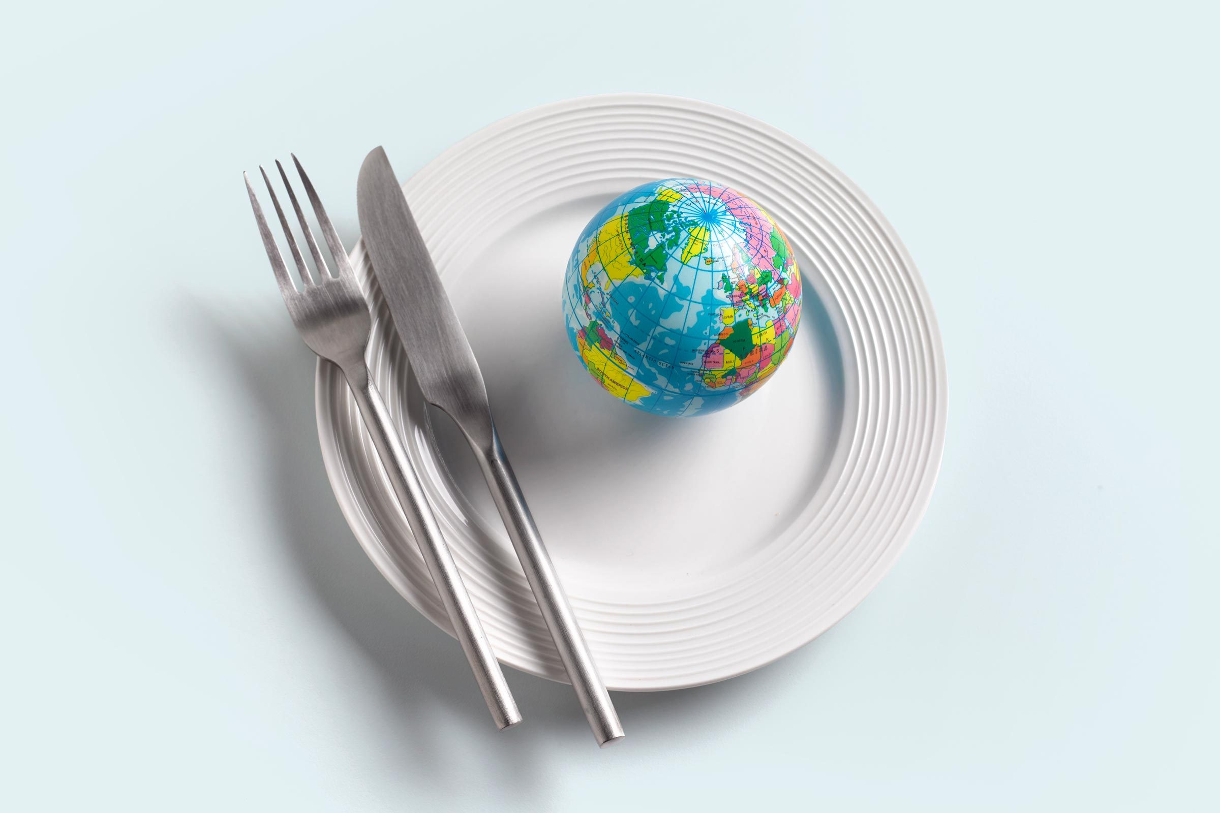 white plate with knife and fork; small globe on the plate