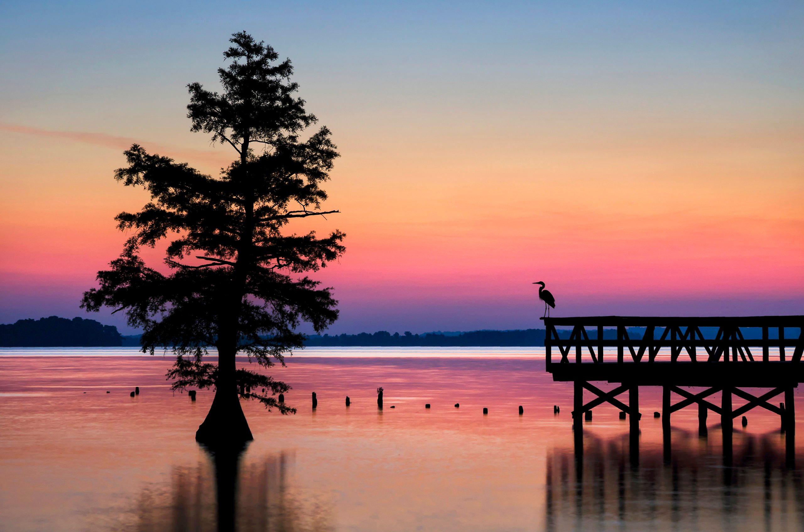 Scenic sunrise, fishing pier on cypress lake