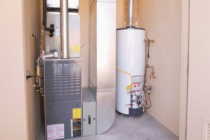 Hot water heater and furnace in basement