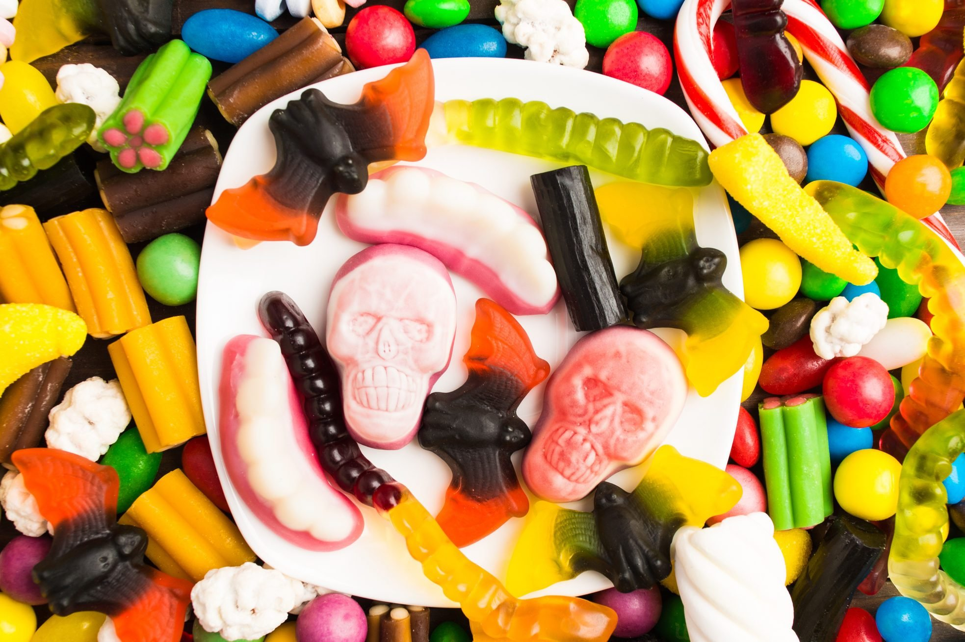 Overhead view of table with candies for halloween
