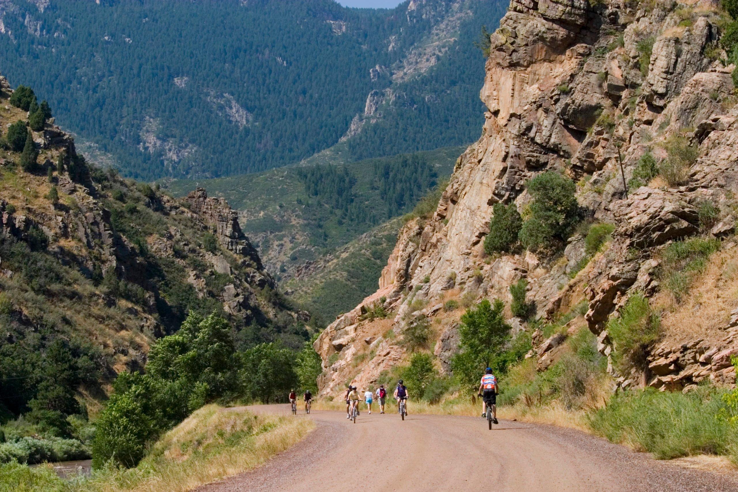 Mountain Bike Riders in Waterton Canyon Colorado
