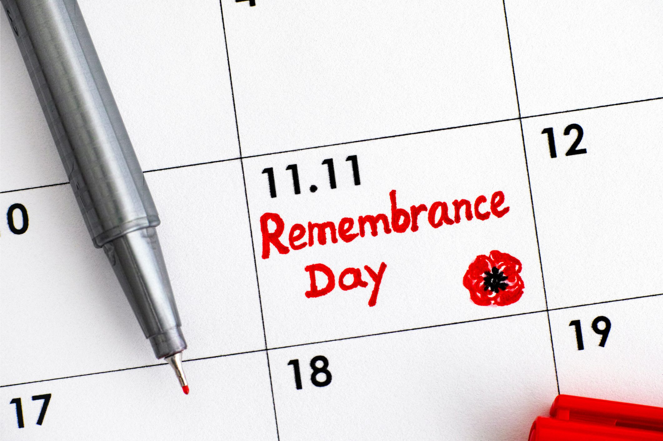 Reminder Remembrance Day in calendar with red pen.