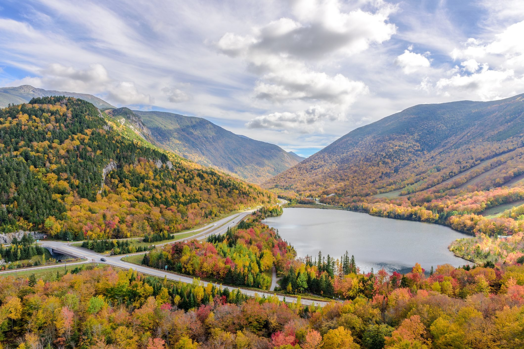 Franconia notch state park during fall