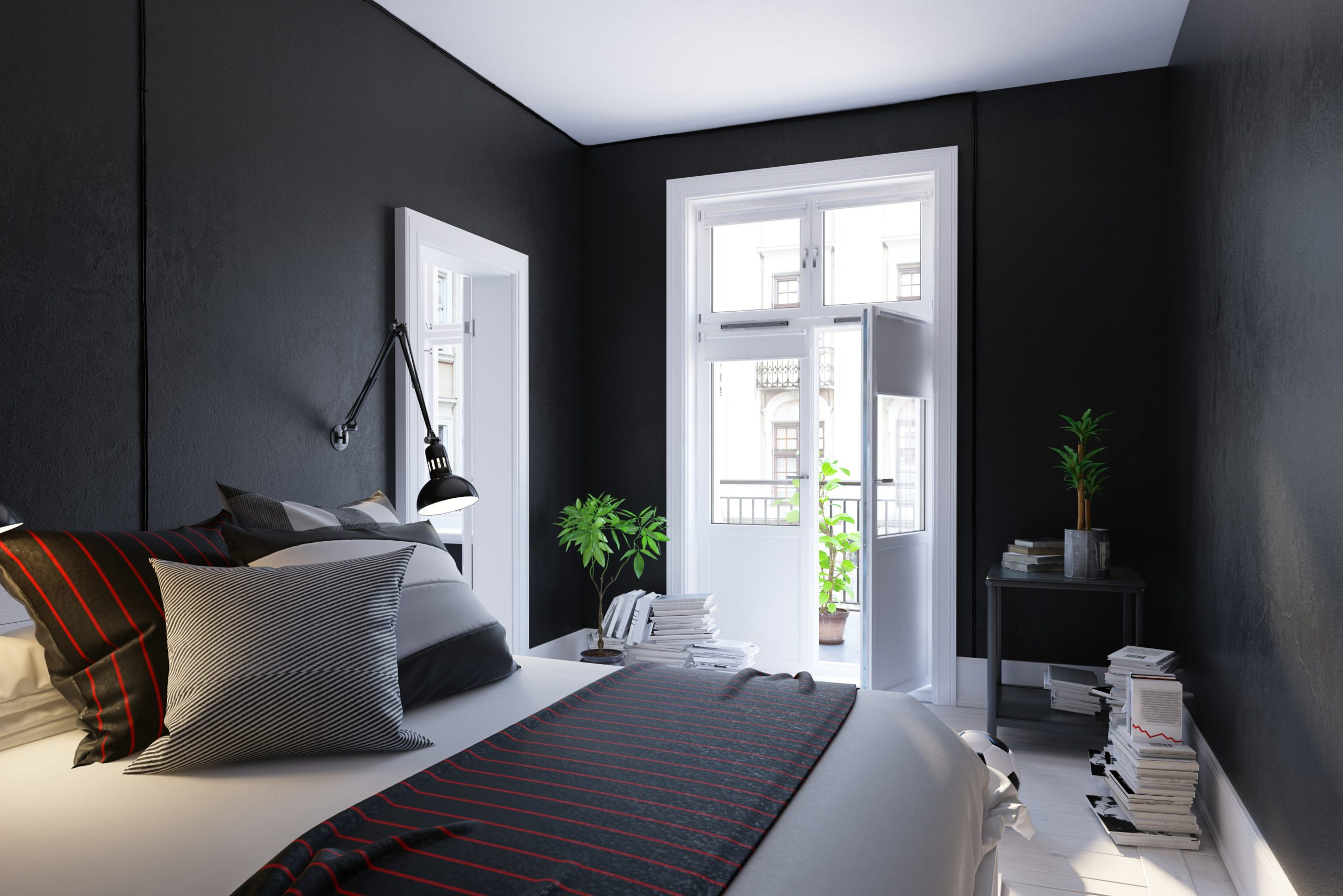 Black living room interior, Scandinavian style