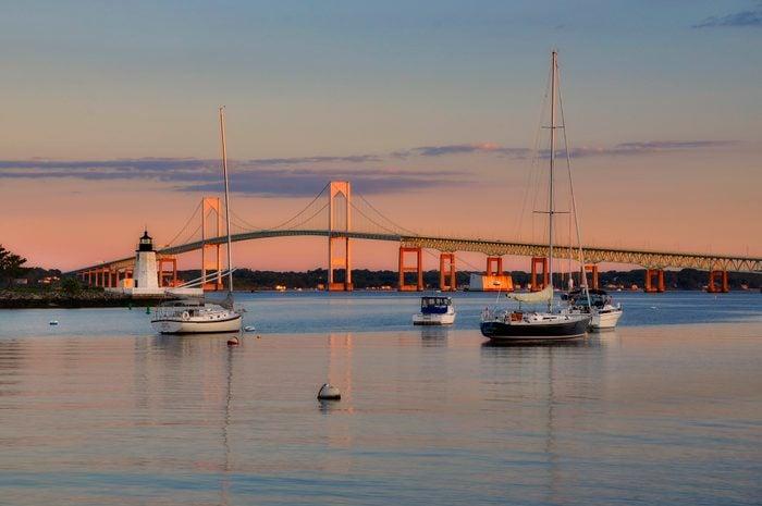 Goat Island lighthouse and the Jamestown at sunrise, Newport, Rhode Island