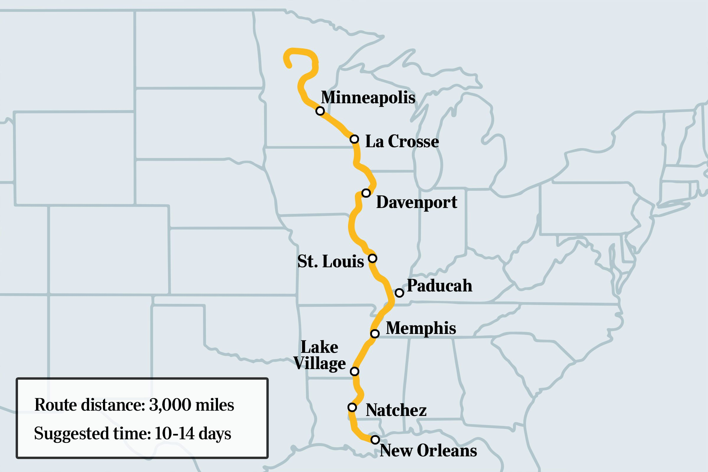 great river road route map with some noted cities