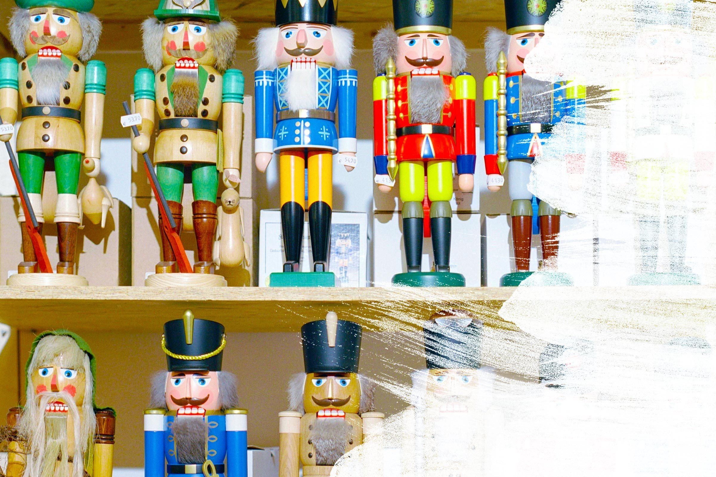Holiday Nutcrackers covered in white paint