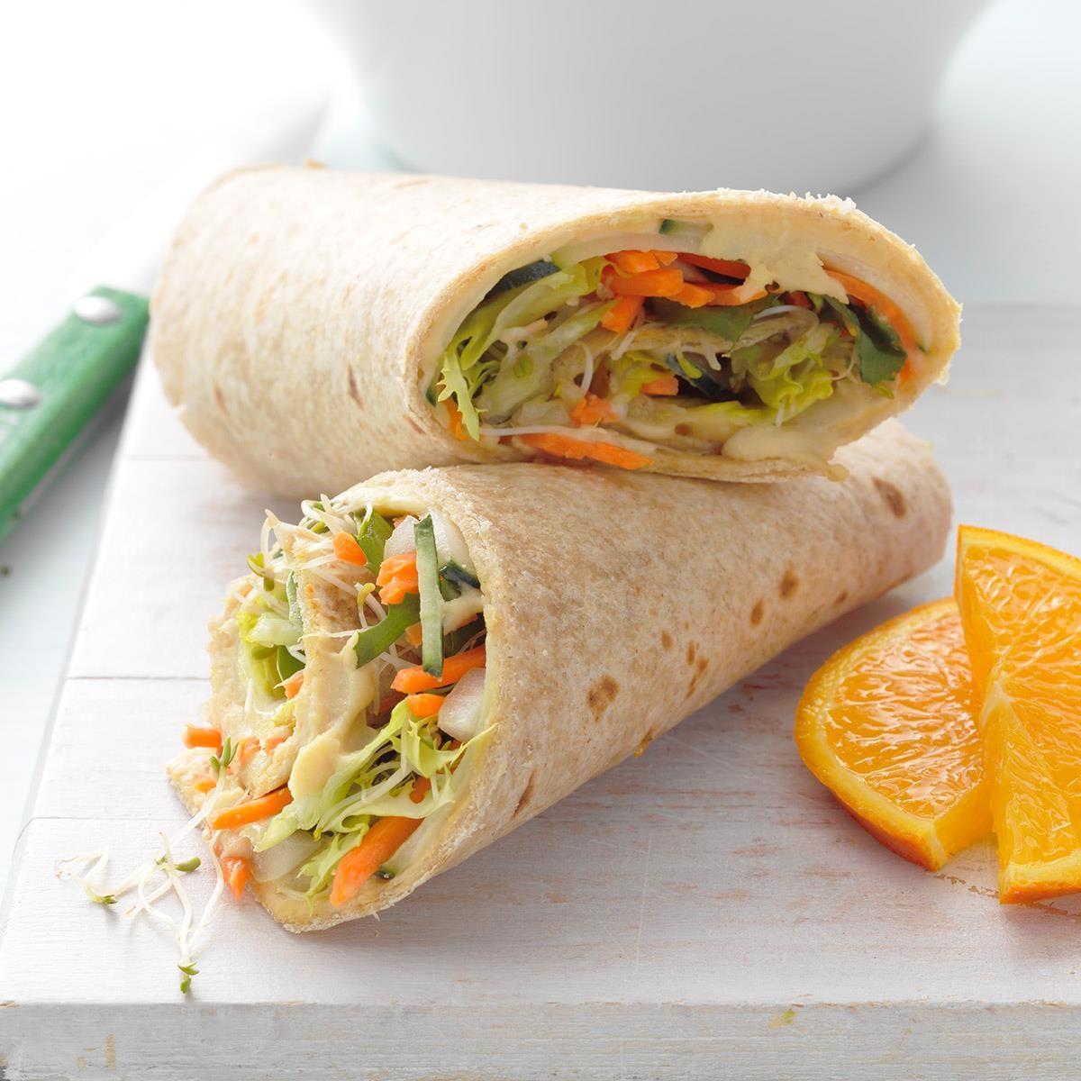 hummus veggie wrap up