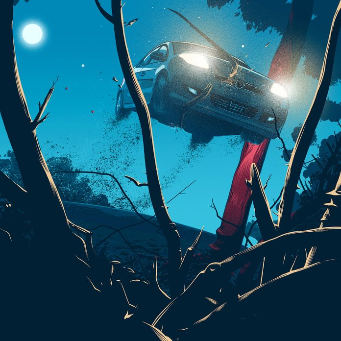 illustration of car flying off road into an embankment