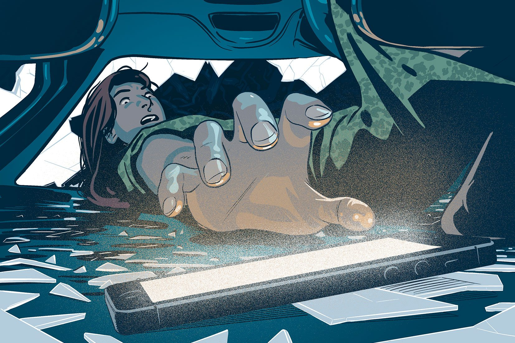 illustration of woman reaching for her ringining phone in the car wreck
