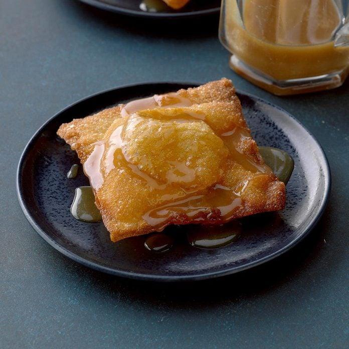 Pumpkin wontons with butterscotch sauce