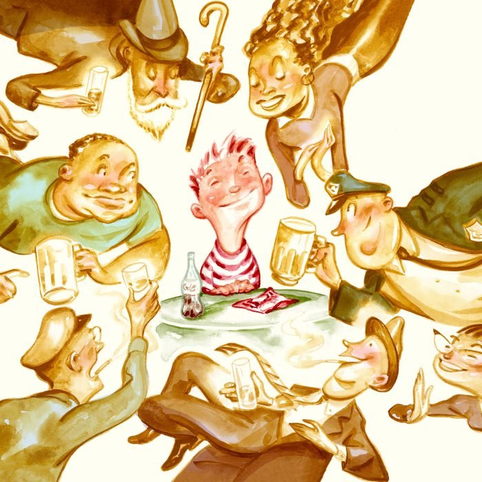 illustration of child at the center of various characters at the bar